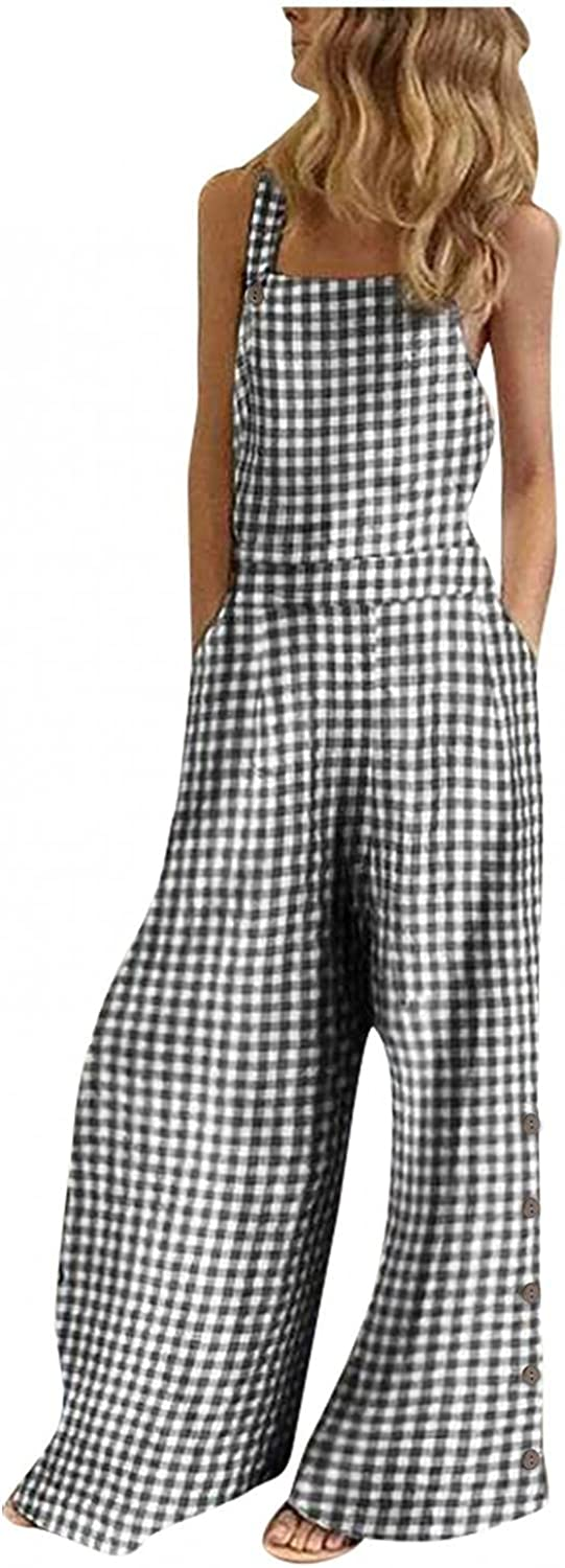 WUAI-Women Loose Heram Jumpsuits Casual Sleeveless Spaghetti Strap Rompers Baggy Bibs Overalls Wide Leg Pants Plus Size