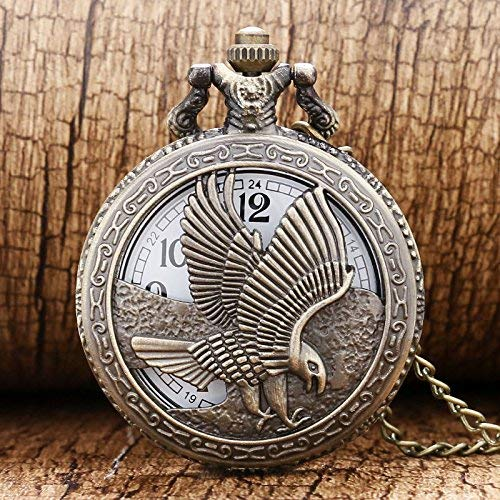 J-Love Collar con Colgante de Reloj de Bolsillo de Cuarzo con águila Hueca de Bronce para Hombre, Mujer, Regalo del día