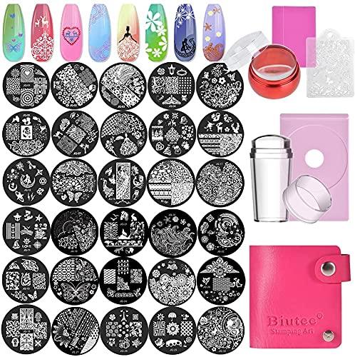 Biutee Pochoir pour la Manicure,Nail Art Stamping Plate , Nail Art Outil (1 Tampon 30Types de Motifs 1 Racle 1 Sac)