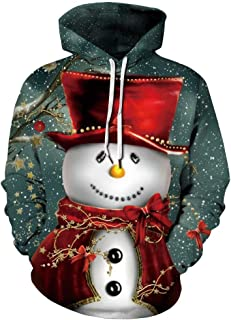3D Sweater, Unisex 3D Digital Christmas Hoodie Novelty Cool Pullover Hooded Sweatshirt Hoody