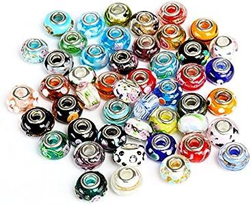 Naler - 50 cuentas de cristal con colgantes para collares, pulseras, pendientes, bisutería, joyería