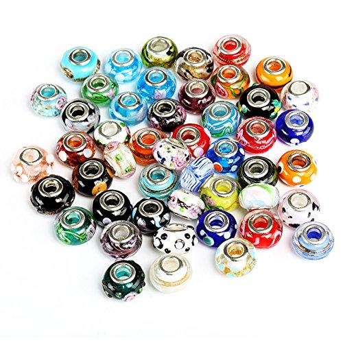 Naler 50pcs perle di murano perline di vetro murano perline europee ciondolo fascino per collana, bracciale, orecchini, creazione di gioielli, mestiere fai da te