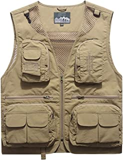 XXT Vest Multi-Pocket Thin Section Outdoor Spring Summer Quick-Drying Tooling Jacket Practicality (Color : Khaki, Size : M)