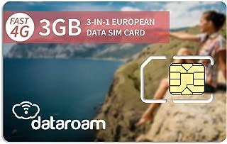 dataroam Prepaid 4G Europe Data SIM Card - Europe 3GB Bundle - 36 Countries - 3-in-1 SIM - Cellhire