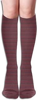 Fishman Donut Coordinate Striped Fabric Compression Socks Adult Knee High Sock Gym Outdoor Socks 50cm 19.7inch