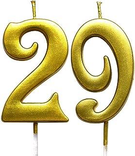 شمعة رقمية لعيد الميلاد التاسع والعشرين من MAGJUCHE Gold ، رقم 29 شموع تزيين حفلات للنساء والرجال