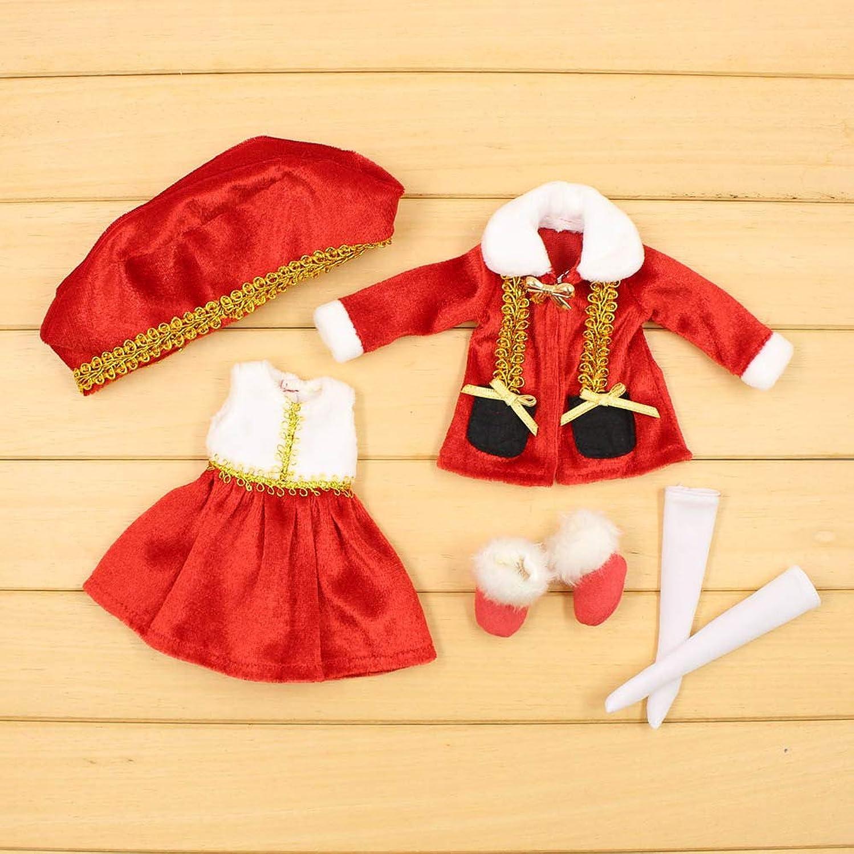 肺炎組み合わせる手数料MAHAXX服のためのブライス 1/6 人形氷リカちゃんボディサンタぬいぐるみスーツ赤コートドレス帽子