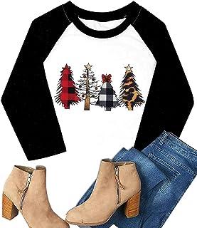HRIUYI Plus Size Christmas Shirts Womens Merry Christmas Plaid Leopard Tree Baseball Casual 3/4 Sleeve Letter Print Graphi...