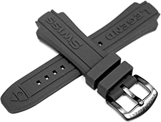 Swiss Legend 29MM Grey Silicone Rubber Watch Strap & Gunmetal Stainless Buckle fits 48mm Neptune Watch