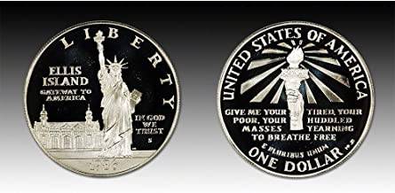 1986 P&S Statute of Liberty Ellis Island Silver Commemorative Dollar $1 Brilliant Uncirculated and Proof - Set of 2 Silver Dollars US Mint