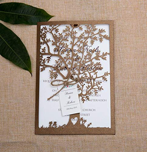 YOER 25pcs Hollow Laser Cut Wedding Invitation Cards with Envelopes Ribbon for Wedding Bridal Shower Engagement Birthday Invite, Wedding Card, Valentine Cards, Anniversary Card(Brown Tree) (Brown)