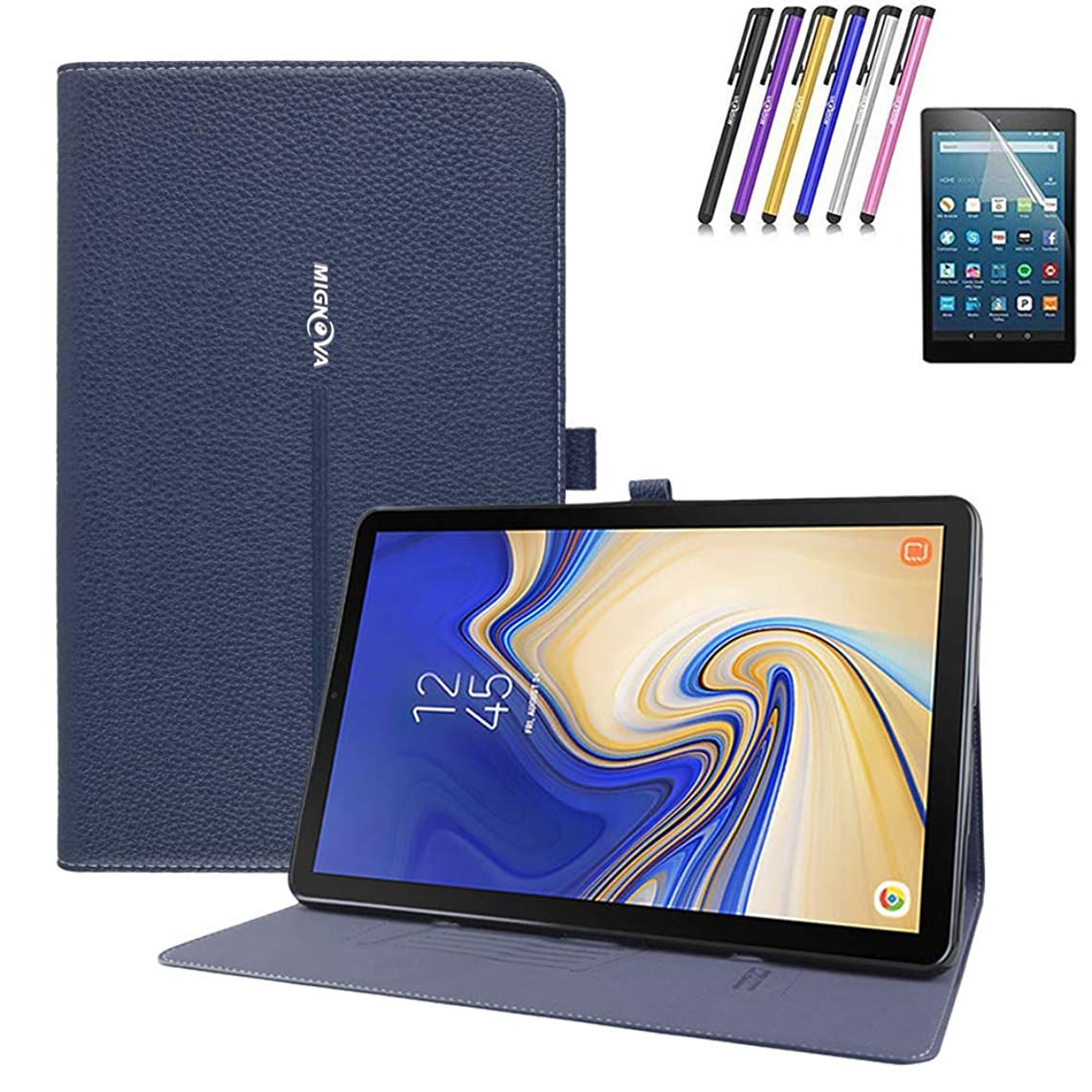 Folio Case Samsung Galaxy Tab A 8.0 2018 (Model SM-T387 Verizon/Sprint),Premium Leather Tablet Cover Pencil Holder Multiple Viewing Angles with Screen Protector Film+Stylus Pen (Blue)