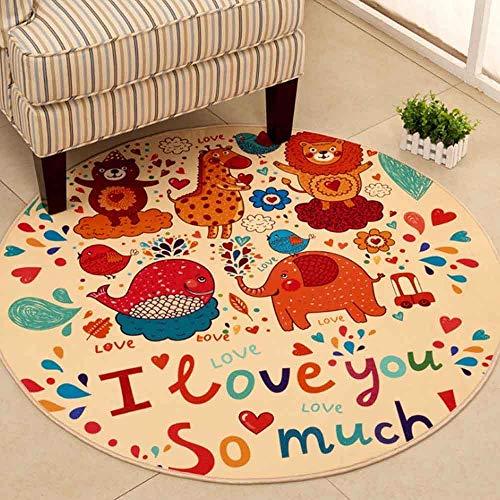 JBTM Cartoon Rundteppich Hochwertiges Baby Schlafzimmer Teppich Umweltfreundlich Computer Stuhl Mat Krabbelmatte Kinder,E,120CM