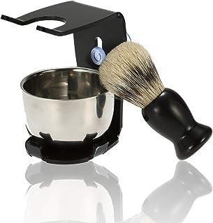 フェリモア シェービング スタンド付き 石鹸ボウル 理容 洗顔 髭剃り 毛穴の汚れ 吸盤 ブラシ洗顔