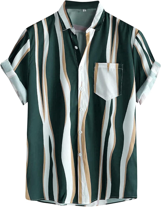 DZQUY Mens Regular Fit Short Sleeve Hawaiian Shirt Summer Casual Button Down Tipped Print Aloha Beach Shirt with Pocket
