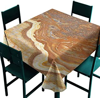 Sunnyhome Fashions Table Cloth Marble Unique Earthen Toned Mother Earth Natural Travertine Structures Display for Banquet Decoration Dining Table Cover 60x60 Inch Cinnamon Earth Yellow