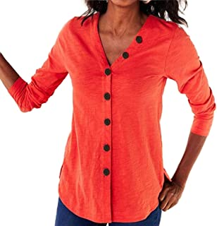 Miracle Womens Casual Loose Sleeve Blouse Pocket Button Down Solid Color Shirts Tee