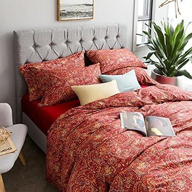 Boho Paisley Print Luxury Duvet Quilt Cover and Shams 3pc Bedding Set Bohemian Damask Medallion 350TC Egyptian Cotton Sateen (King, Yellow Red)