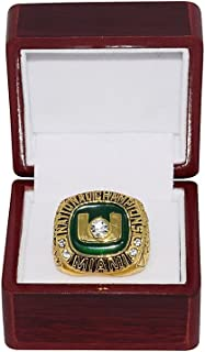 UNIVERSITY OF MIAMI HURRICANES (Boylan) 2002 ROSE BOWL NATIONAL CHAMPIONS (Perfect Storm 12-0) High-Quality Replica NCAA Football Gold Championship Ring with Cherrywood Display Box