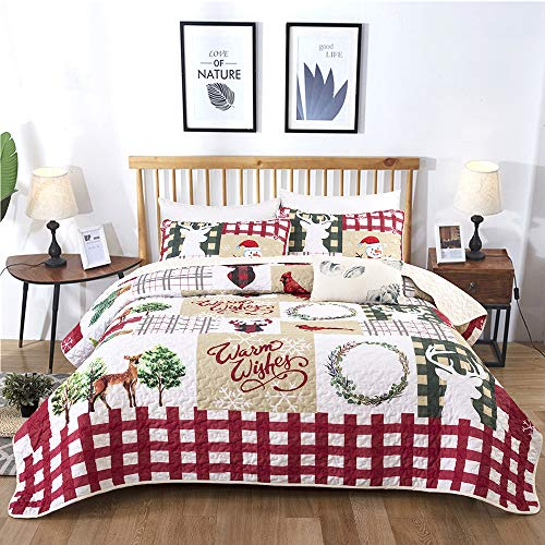 Christmas Quilt Set Rustic Christmas Santa Tree Snowman Pattern Printed Bedding Solid Quilted Bedspread Coverlet with 2 Pillow Shams for All Seasons, Soft Microfiber Quilt 90x90 inches