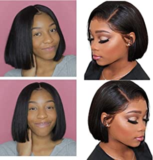Halo Lady Bob Wig Middle Part Brazilian Human Hair Lace Front Bob Wigs Short Straight Real Hair Wigs for Women (8 inch)