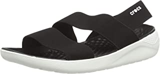 Crocs Women's LiteRide Stretch Sandals Water Shoes, Black/White, 9 M US