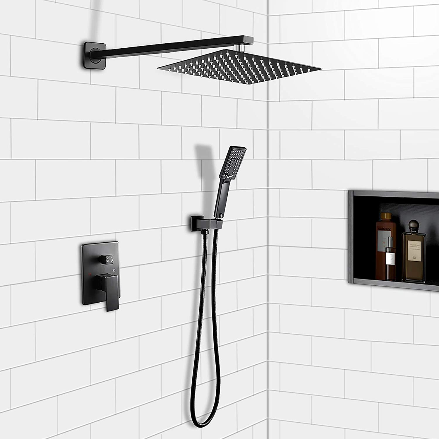 ROVOGO Bathroom Rain Mixer Shower Combo Set, Wall Mounted Rainfall Shower  Head System with Handheld Shower, Brass Rough in Diverter Valve and Trim  Kit ...