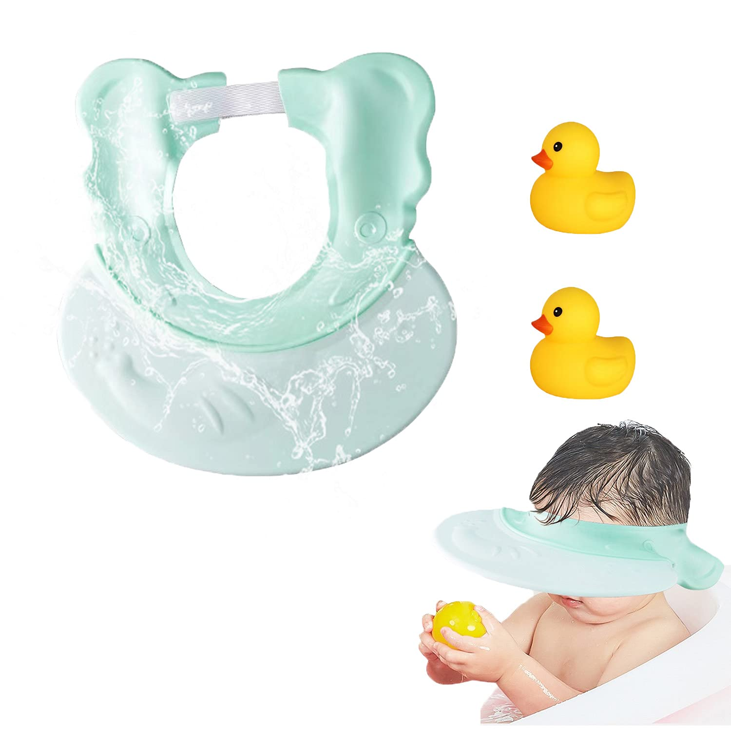 Kids Shower hat, Baby Shower Cap, Baby Bath Visor, Adjustable Waterproof Silicone Shampoo Bathing Hat, with 2 Little Duck, Protect Eye&Ear for Infants, Kids…