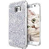 OKZone Funda Samsung Galaxy S7 Edge, Cárcasa Brilla Glitter Brillante TPU Silicona Teléfono Smartphone Funda Móvil Case [Compatible con Carga Inalámbrica] para Samsung Galaxy S7 Edge (Plata)