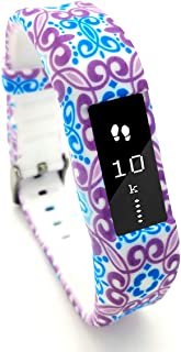 Leotop Compatible with Fitbit Ace Bands Kids, Floral Print Cute Silicone Sports Strap Wristband Stainless Steel Buckle Compatible Fitbit Ace/Alta HR Tracker Boy Girl Women (Flower)