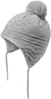 Baby Kids Toddler Fleece Lined Winter Earflap Beanie Hat Knit Warm Pom Skull Cap Hat for Boys Girls (Grey, M:1T-3T/(18.5