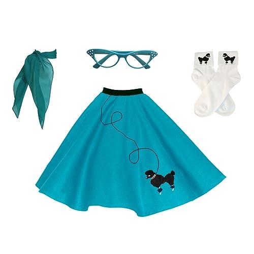 00b641306922 Hip Hop 50s Shop Adult 4 Piece Poodle Skirt Costume Set