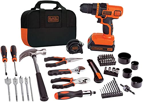 BLACK+DECKER 20V MAX Drill & Home Tool Kit, 68 Piece (LDX120PK),Black/Orange