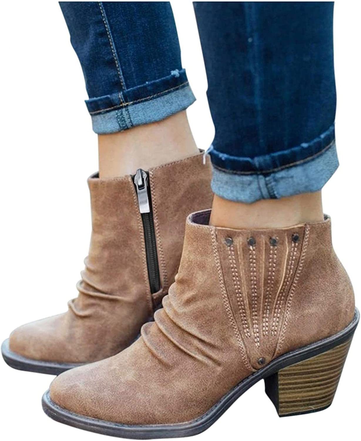 UOCUFY Boots for Women Special sale item Cowgirl [Alternative dealer] Ankle Wedge Low Hee Booties Short