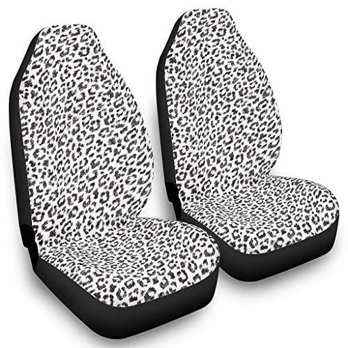 Muster Leopard Tierhaut Sitzbezüge für Autos - Muster Fahrzeugzubehör rutschfest Auto Sitzbezüge 2er-Set ganzjährig einsetzbar White OneSize