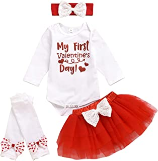 My First Valentine's Day Outfits Newborn Baby Girl Romper Top Gauze Dress Leggings Headband 4Pcs Outfit