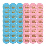 Pegatinas De Revelación De Género 48 Etiquetas Adhesivas Con Letras Doradas Con Purpurina Dorada, Pegatinas De Equipo Para Niños Y Niñas Para Fiestas, Decoraciones, Pegatinas Redondas, Azul Y Rosa