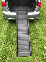 NEW DESIGN with BETTER gripping moulded surface - replaces model with stick on sandpaper walking surface IMPORTANT- Please allow time for your dogs to get used to their ramp!!! Supports a dog of up to 200 lbs. (90kgs) Easy fold for compact storage, e...