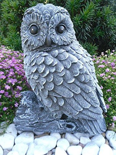 Steinfiguren Spicker Steinfigur Eule auf Stamm 152/1, Gartenfigur Steinguss Tierfigur Basaltgrau