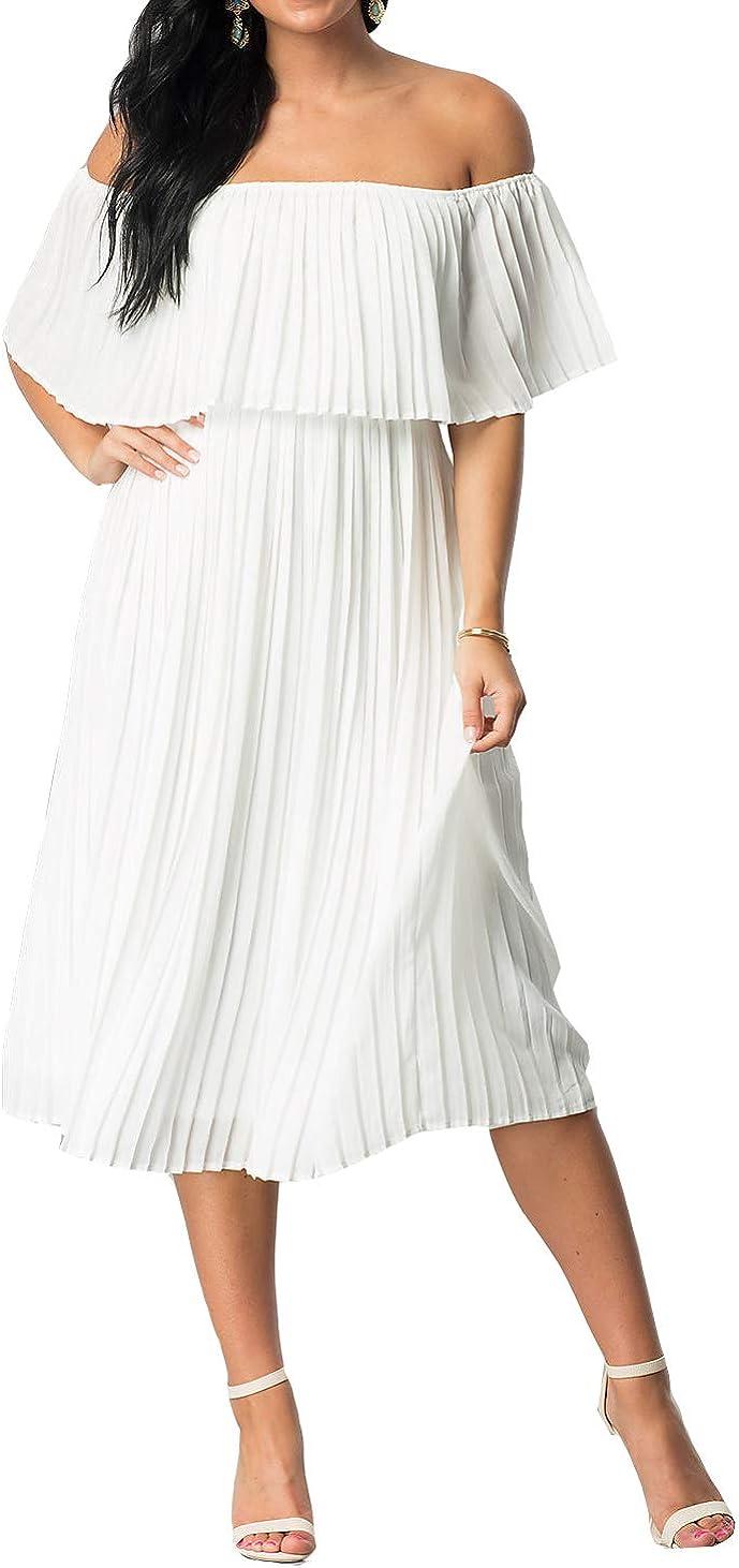 Mmondschein Women's Vintage Off Shoulder Evening Casual Party Chiffon Maxi Dress