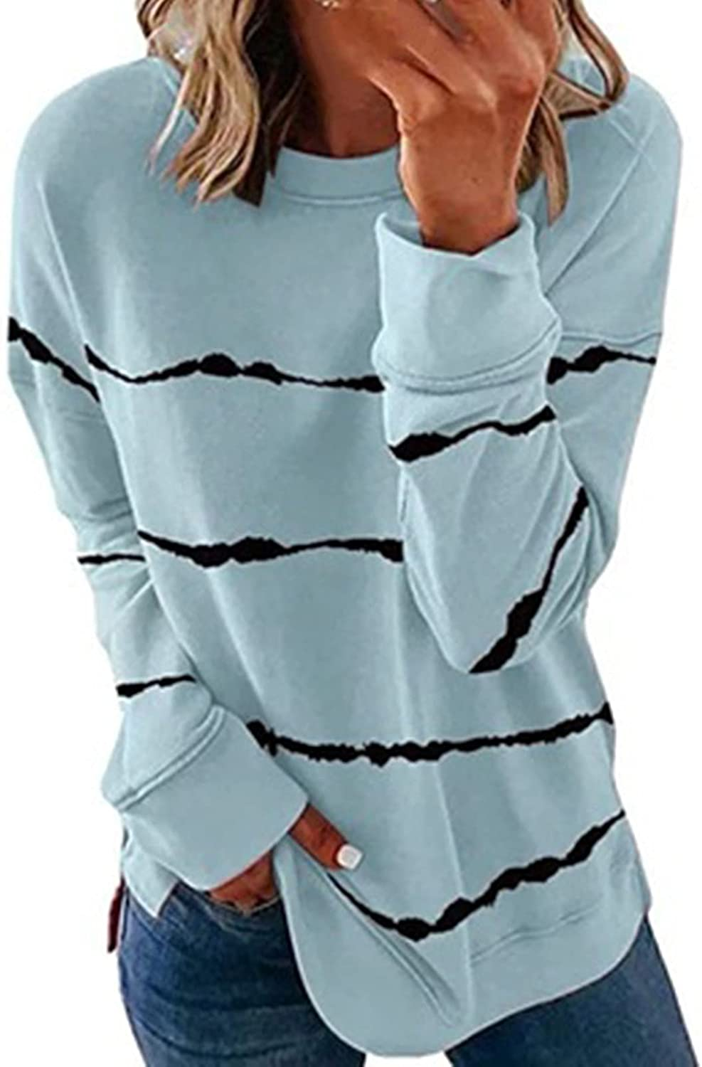 Women's Casual Strips Tee Top Long Sleeve Round Neck Printing Pullover Shirt Going Out Loose Blouse Tops