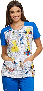 Sesame Street Women's V Neck Scrub Top