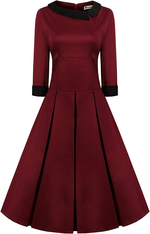 REORIA Women's 50s Style 3/4 Sleeve Rockabilly Pinup Vintage Dress (Premium)