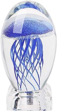 ruiruiNIE Lampe de Table en Cristal de méduse 3D LED Night Light avec Base Lumineuse Couleurs Magiques