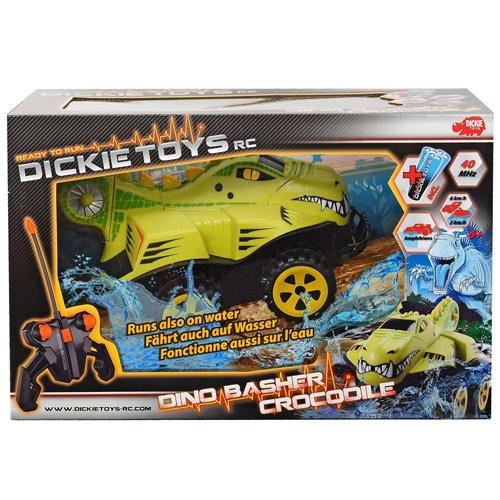 Dickie Toys 201119088 - RC Dino Basher Crocodile, Amphibienfahrzeug zu Land und zu Wasser inklusive Batterien, 25 cm