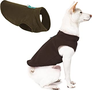 Gooby Fleece Vest Dog Sweater - Brown-Turquoise, Medium - Warm Pullover Fleece Dog Jacket with O-Ring Leash - Winter Small...