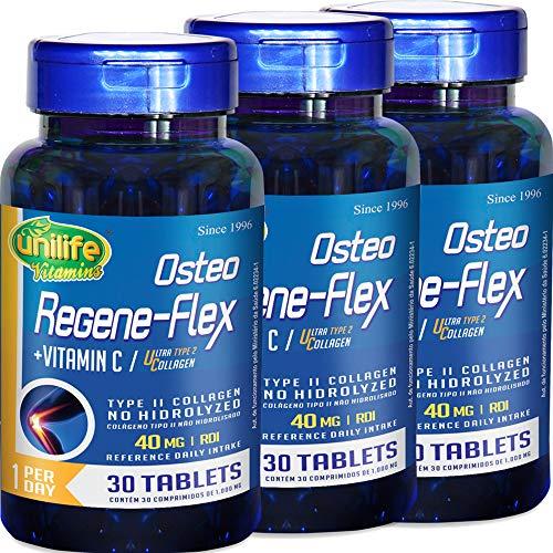 Kit com 3 Frascos de Colágeno Tipo 2 (UC2) Osteo Regeneflex 30 Comprimidos Unilife