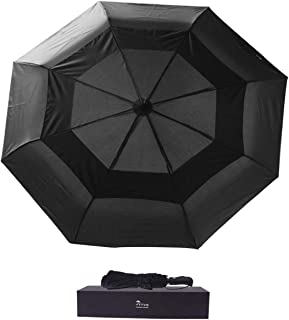 JTTVO Travel Umbrella Windproof 53-inch Vented Double Canopy Automatic Open Waterproof Foldable Compact Umbrella for Business Women and Men with Portable Leather Bag and Gift Box