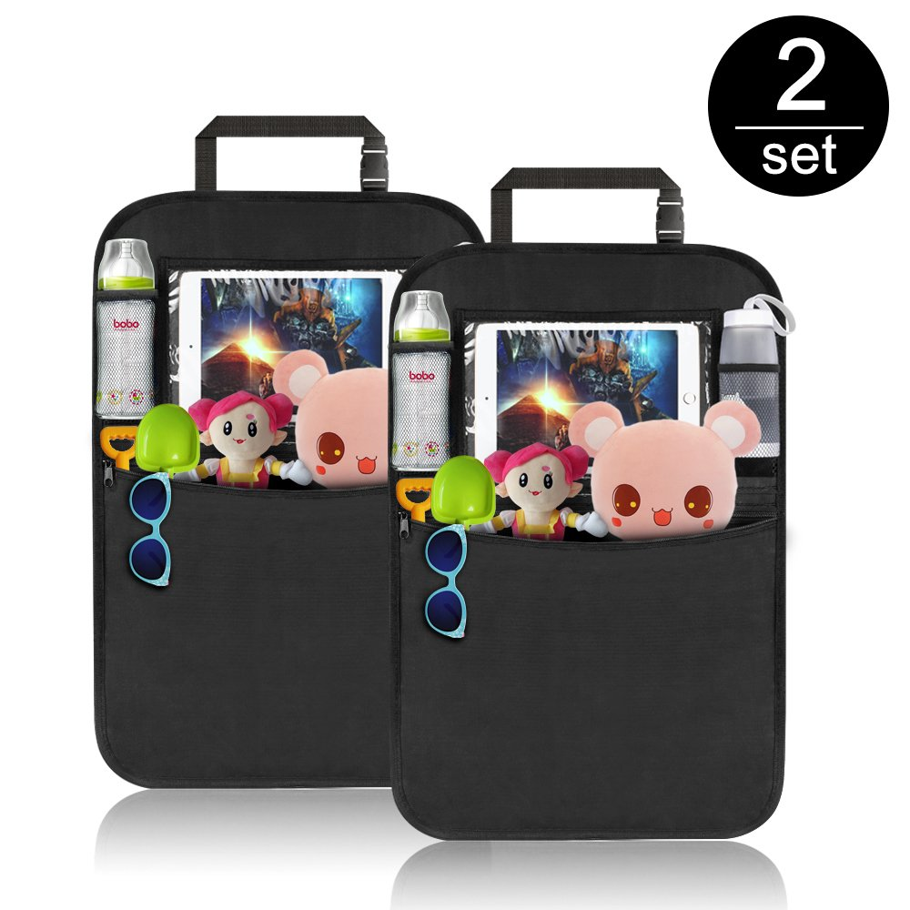 Komake Waterproof Seat Back Cover Organizer Auto Kick Mats with 4 Large Pocket Storage Car Back Seat Protector Toys Tablet Holder for Children Kids Cartoon Movies Journey 2 Pack