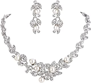 Clearine Women's Wedding Bridal Crystal Simulated Pearl Cluster Leaf Hibiscus Flower Collar Necklace Dangle Earrings Set Clear Silver-Tone